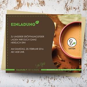 Dhyān Vegan Bistro Einladungskarte Design Mainz