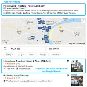 SEO Case Study – International Travellers Hostel – Google Hotel Results