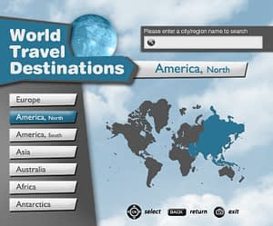 UX/UI Design for IPTV Travel Guide App – Continents View